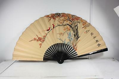"Vintage Asian Large Hand Painted ""Red Plum Bossom"" Signed Wall Fan 51"" X 31"""