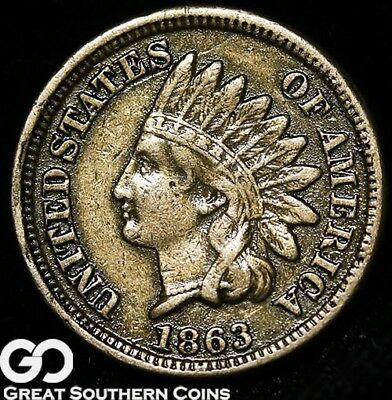 1863 Indian Head Cent Penny, Sought After Civil War Date