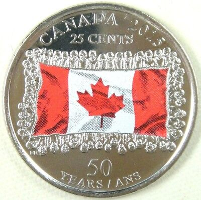2015 Canada 25-cents Coin - UNC - 50th Anniversary of Maple Leaf Flag