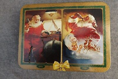 Coca Cola Christmas 1997 Set of 2 in Tin  Playing Cards Sealed DECKS 1949 1951