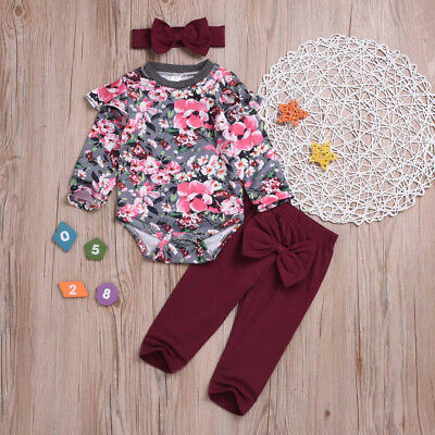 3Pcs Infant Baby Girl Floral Romper Tops+ Pants Trousers+Hairband Outfits B2 Lot