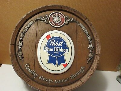 Vintage 1980s Pabst Blue Ribbon Beer Large Plastic Barrel Sign Game Room Bar