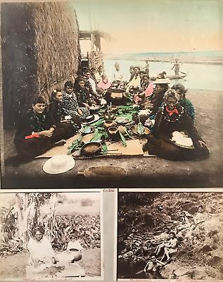 1890's Vintage Hand Colored Albumen Photographs of Hawaii