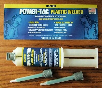 "BEACON POWER-TAC ""plastic welder"" glue SUPER TOUGH MMA Methacrylate 25ml syringe"