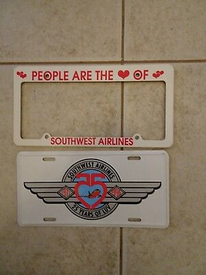 Southwest Airlines License plate  25 Years of LUV and holder frame  new