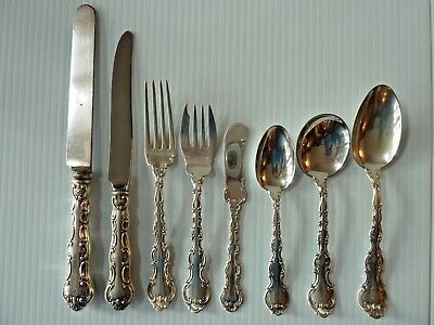 """Gorham """"strasbourg"""" Sterling Silver 8-Piece Place Setting"""
