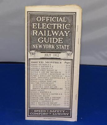 "1912 ""official Electric Railway Guide - New York State"" Rr Train Time Table"