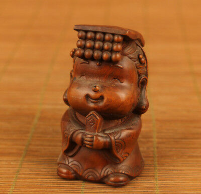 Rare chinese old boxwood hand carved little emperor statue netsuke hand piece