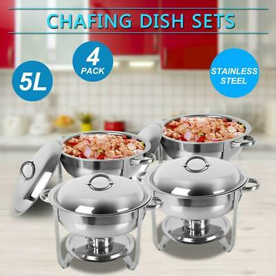 4 PACK Deluxe 5 Qt Stainless Steel Round Chafer Chafing Dish Set Full Size