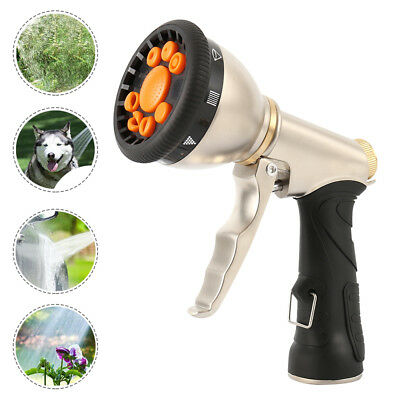 Garden Hose Spray Gun 9 Patterns Nozzle Car Washing Watering Tool + Metal Nipple