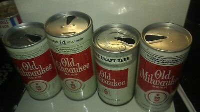 Old Milwaukee beer can lot of 4 14 oz/Genuine draft 12 oz