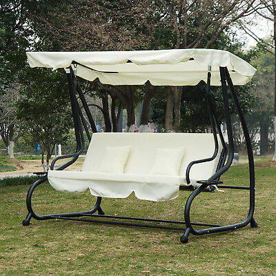 2-in-1 Patio Swing Chair 3 Seater Hammock Cushion Bed Tilt Canopy Garden Bench