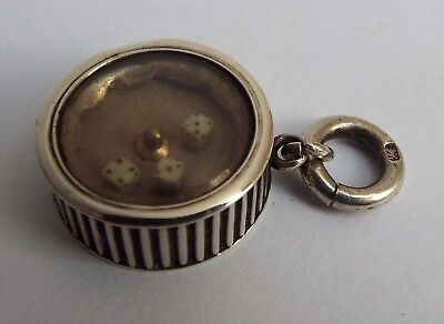 LOVELY RARE ANTIQUE c.1900 STERLING SILVER SPINNING DICE GAME ALBERT CHAIN FOB
