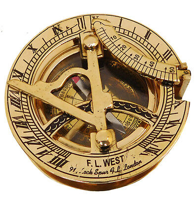 Nautical Hand-Made Solid Brass Working Sundial Pocket Compass Nautical Vintage