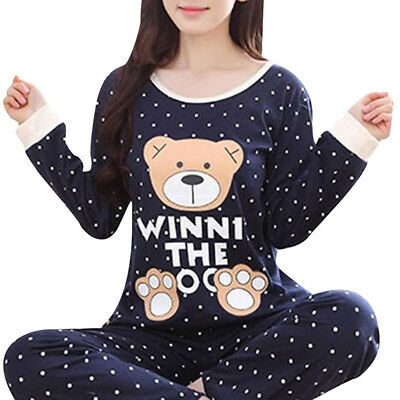 Women Lady Cute Bear Pajamas Set Blouses Pants Sleepwear Nightwear PJS Homesuit