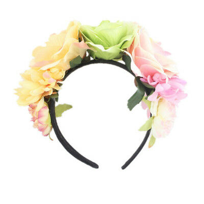 Rose Flower Headband Bridal Holiday Party Wreath Headdress Hair Accessories CB