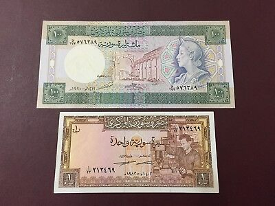 Syrie , Syrie 2 Banknotes 1-100 livres 1982-1990 UNC