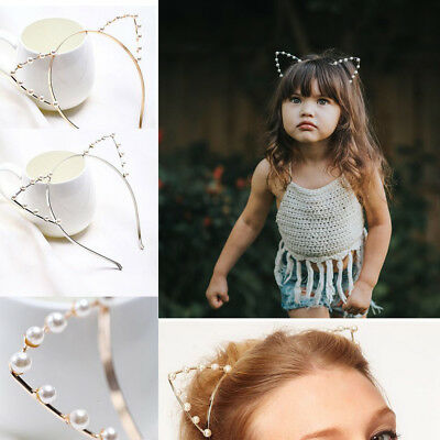 Hot Baby Girls Metal Rhinestone Cat Ear Headband Hair band Costume Party Cosplay