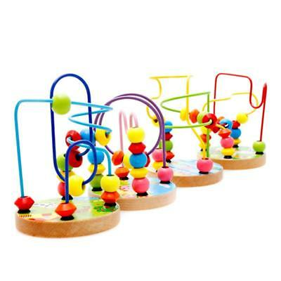 Children Kids Baby Colorful Wooden Mini Around Beads Educational Game Toy LS3