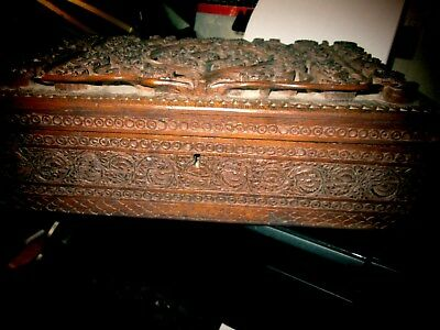 Antique Middle Eastern Large Carved Wooden Workbox Raised Carved Sunflowers Lid
