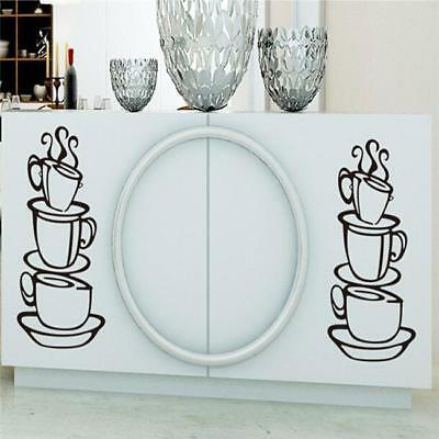 Kitchen Coffee House Cup Wall Stickers Vinyl Decal Mural Home Decor Removable DP