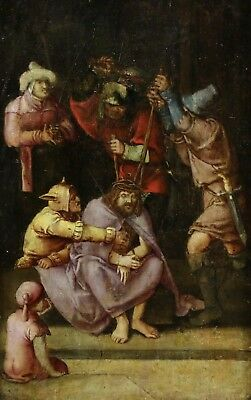 16th CENTURY DUTCH OLD MASTER OIL ON PANEL - THE MOCKING OF CHRIST - STUNNING
