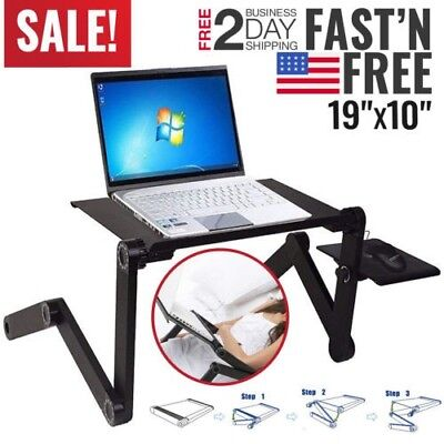 Portable Adjustable Aluminum Laptop Desk Ergonomic Table Stand With Mouse Pad US
