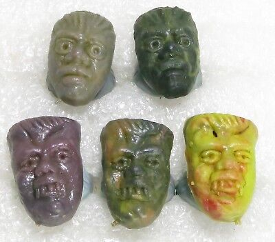 5 New Vintage 1960s Monster Fink Rings Assorted Colors 2 Wolfman 3 Frankensteins