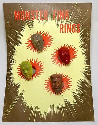 4 New Vintage 1960s Monster Fink Rings with Display 3 Wolfman 1 Frankenstein