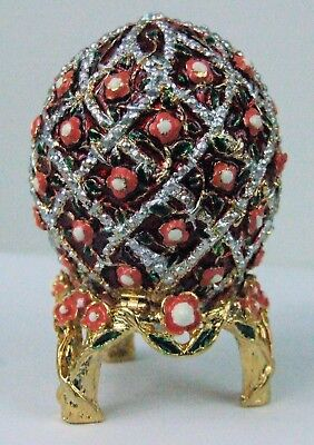 Russian Faberge Egg Replica with cross hatch Flowers E06-27-05