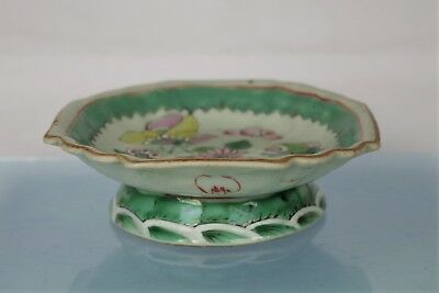 Lovely Antique Chinese Famille Vert Hand-painted Pedastel Dish