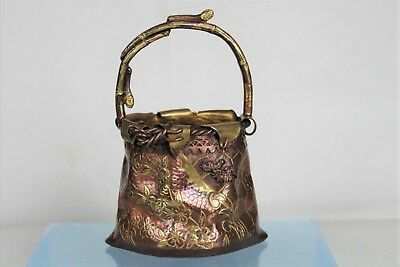 Fantastic Antique Japanese Brass Decorative Ornamental Bag