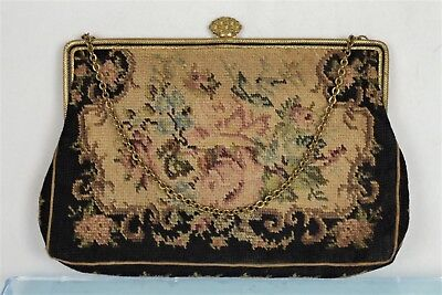 Fine Czechoslovakian Antique Embroidered Bag - 'Petit Point'