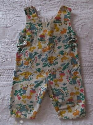 Vintage Boy Girl Duck Bunny Mushrooms Jumpsuit Romper Corduroy Baby Overalls