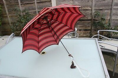 1950's Paragon Umbrella Perspex Handle And Top Tassel Attached Striped Fabric