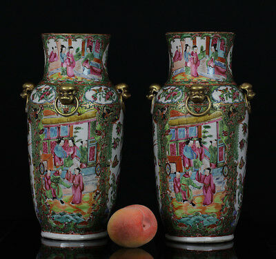2 BEAUTIFUL antique CHINESE PORCELAIN FAMILLE ROSE CANTONESE VASE FIGURES 19TH 4