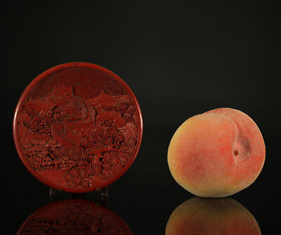 A BEAUTIFUL antique CHINESE HAND CARVED CINNABAR VISIT CARD DISH GREAT WALL 1900