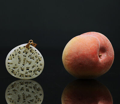 A BEAUTIFUL antique CHINESE NATURAL JADE PEACH BELT PLAQUE 19TH CENTURY OR OLDER
