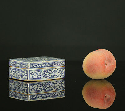 A BEAUTIFUL antique CHINESE PORCELAIN BLUE WHITE SCHOLAR INK BOX 19TH CENTURY