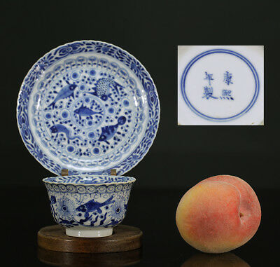A BEAUTIFUL antique CHINESE PORCELAIN BLUE WHITE TEA CUP & SAUCER FISHES 19TH