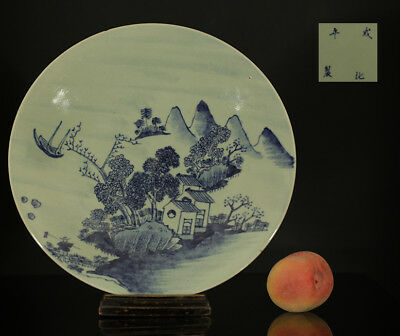 A BEAUTIFUL antique CHINESE PORCELAIN CELADON CHARGER MOUNTAIN VILLAGE 19TH