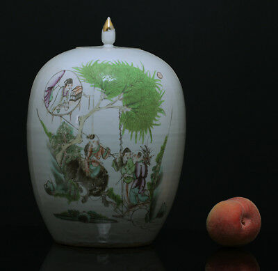 A BEAUTIFUL antique CHINESE PORCELAIN FAMILLE ROSE JAR CHILDREN SCHOLAR 1900