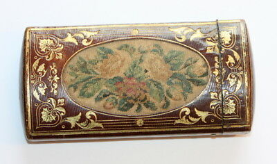 C1780 Petit Point Emrodery Both Sides, Spectacles Cigar Case , Excellent Cond.