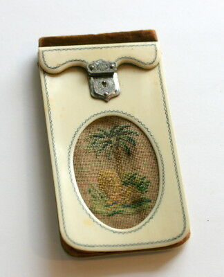Excellent Cond. Petit Point Embroidery Spectacles Case Etui , Silk Gusset C1820
