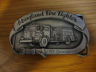 Maryland Fire Fighter Belt Buckle - 1985 Commemorative - Pewter Color