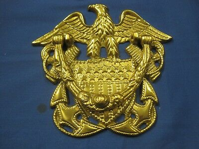 Vintage U.s. Navy Brass Door Knocker Eagle Wings Military Stars-Stripes Anchors