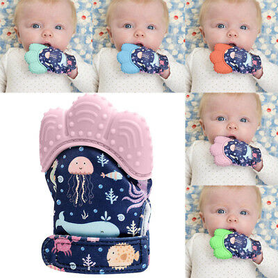 New Design Seaword Baby Silicone Mitts Teething Mitten Molars Glove Wrapper B2
