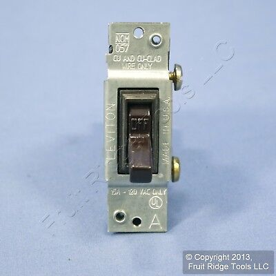 Leviton Brown Framed ON/OFF Toggle Wall Light Switch Single Pole 15A 120V 1451-4