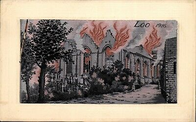 Woven Silk. WW1 Flames by Neyret Freres. Loo 1916.