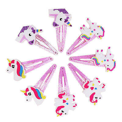 4 Pairs Lovely Unicorn Trim Hairpins Girls Hair Clips for Party, Birthday- Pink
